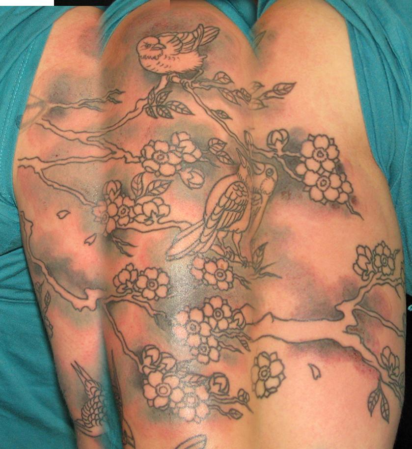feminine back tattoo set: MARY