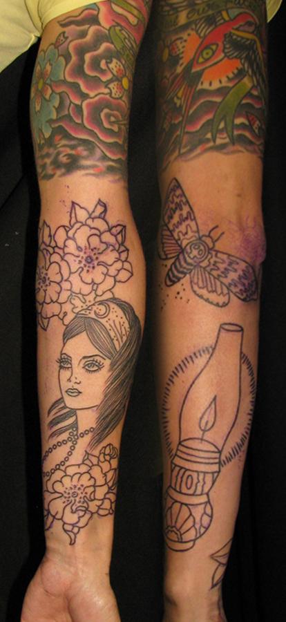 Girly arm in progress sara purr tattoo for Girly arm sleeve tattoos