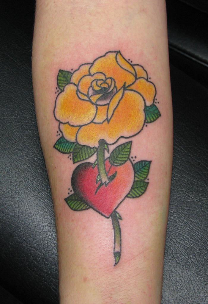 Traditional American Tattoos | Sara Purr Tattoo | Page 13 American Traditional Yellow Rose Tattoo