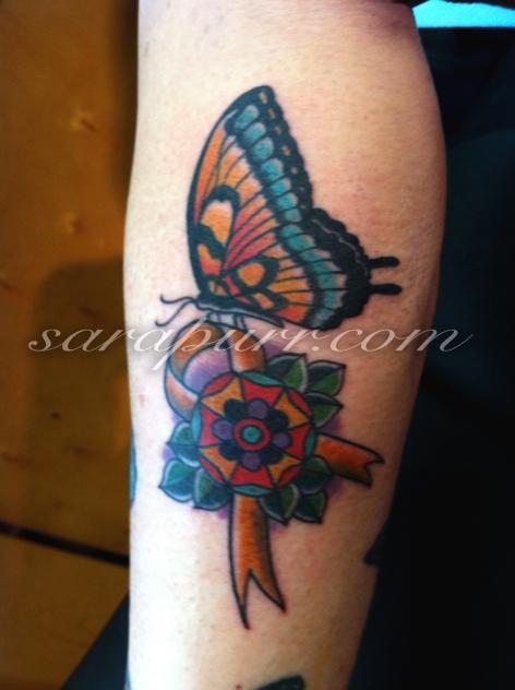 Rosette sara purr tattoo for Gold ribbon tattoos