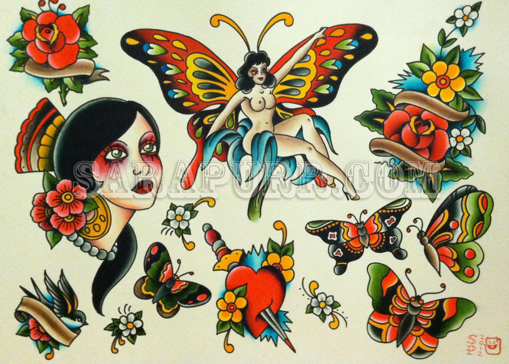 Sarapurrflash4 sara purr tattoo for Traditional tattoo flash